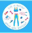 sport sticker fitness patch badge gym equipment vector image