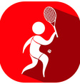 Tennis icon on red background vector image vector image