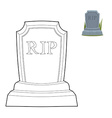 Tomb coloring book Old Gravestone in linear style vector image