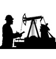 worker and oil pump vector image