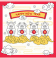 year of the pic greeting card comic style vector image vector image