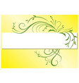 yellow background with green flora vector image
