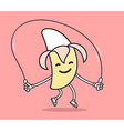 Yellow color smile banana with skipping r vector image