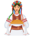 Young woman in ukrainian clothes vector image