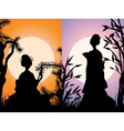 Japanese cards geisha silhouettes at sunset vector image