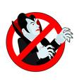 Stop vampire It is forbidden to drink blood vector image