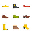 footwear icons set flat style vector image