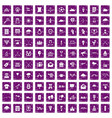 100 arrow icons set grunge purple vector image vector image