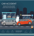 accident with two cars on the road of night city vector image vector image