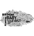 baby birthdays text word cloud concept vector image vector image