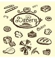 bakery set elements chalkboard vector image vector image