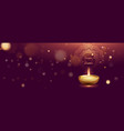 banner template with realistic oil lamp on dark vector image vector image
