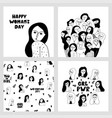 big set with hand drawn woman fases vector image