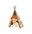 boy sitting in a tepee tent kid playing in vector image vector image