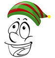 doodle face wearing green and red hat vector image