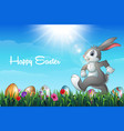easter bunny with decorated easter eggs in a field vector image