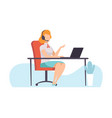 female call center worker online support service vector image vector image