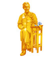 golden statue a jeweler holding a ring in his vector image