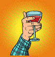 hand with a glass of red wine vector image vector image