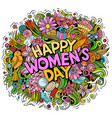 Happy womans day hand drawn cartoon doodles