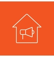House fire alarm line icon vector image