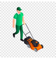 man cut grass icon isometric style vector image vector image