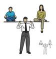 metaphor businessman holding up his son and wife vector image vector image