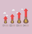 money bags with growth arrows infographic vector image vector image