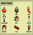 new year color isometric icons vector image vector image