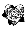 old school rose tattoo traditional black dot vector image vector image