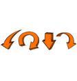 orange arrows down signs colored hand drawn vector image vector image