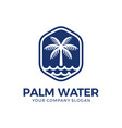 palm and water logo design vector image vector image