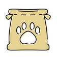 paper bag with paw print mascot vector image vector image