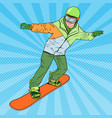 pop art man in sportswear with snowboard vector image
