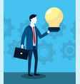 professional businessman with briefcase and bulb vector image