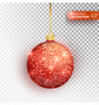 red christmas ball hanging isolated on white vector image vector image