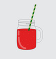 red watermelon smoothie jar icon eps10 vector image