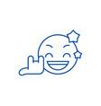 rock star emoji line icon concept rock star emoji vector image