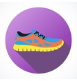 Shoes flat icon with bright colorful running
