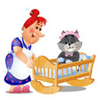 striped cat in children swing bed trying vector image vector image