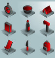 survival kit color gradient isometric icons vector image