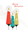 Three colorful Christmas candles with ornaments vector image vector image