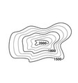 topographic map contour mountain geographic vector image vector image