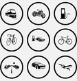 train motorcycle fueling station bicycle car vector image