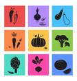 vegetables food icons set silhouette vector image