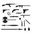 Weapons flat collection isolated on white vector image vector image