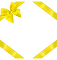 yellow realistic bow with ribbons vector image vector image