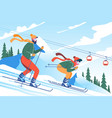 young man father with beard skiing with his son vector image
