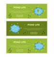 cartoon garden pond advertisment banners vector image