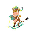 a bull wearing striped hat mittens and glasses vector image vector image